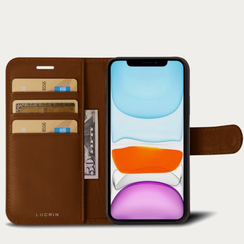 iPhone 11 Pro Max Wallet Case - Tan - Smooth Leather